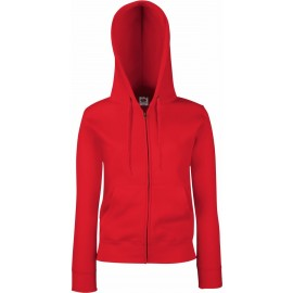 Fruit of the Loom | Premium Lady-Fit Hooded Sweat Jacket | Red